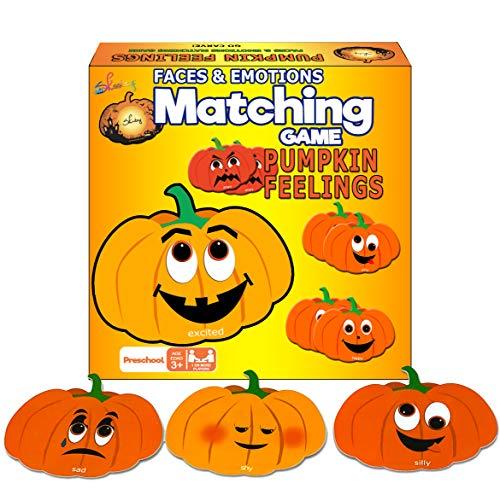 Skoolzy Educational Pumpkin Memory Matching Game Cards 24 Emotional Intelligence Flashcards - Fall Festival, Jack-O-Lantern Halloween, Thanksgiving Games for Kids - Kids Identify Feelings & Emotions