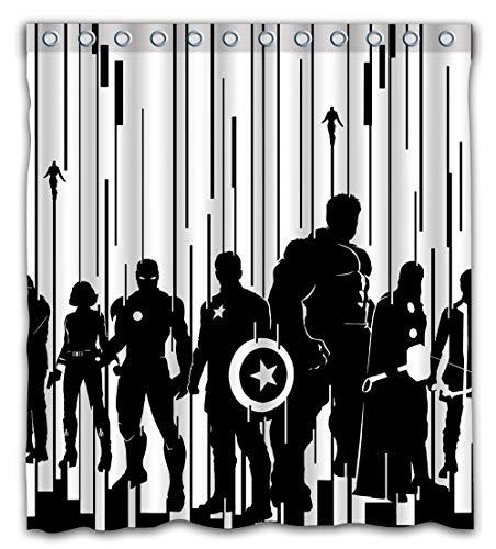 Patwee Cool Black and White Streifen Design Duschvorhang Wasserdicht Stoff für Badezimmer Dekoration 66x72inch Color-02