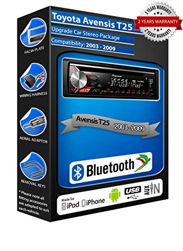 Pioneer Avensis T25 DEH-3900BT estéreo para coche, USB CD MP3 AUX en kit Bluetooth (reacondicionado)