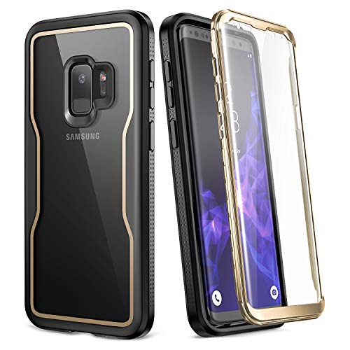 YOUMAKER Crystal Clear Case for Galaxy S9 5.8 inch, Full Body with Built-in Screen Protector Heavy Duty Protection Slim Fit Shockproof Rugged Cover for Samsung Galaxy S9 5.8 inch (2018) - Gold/Black