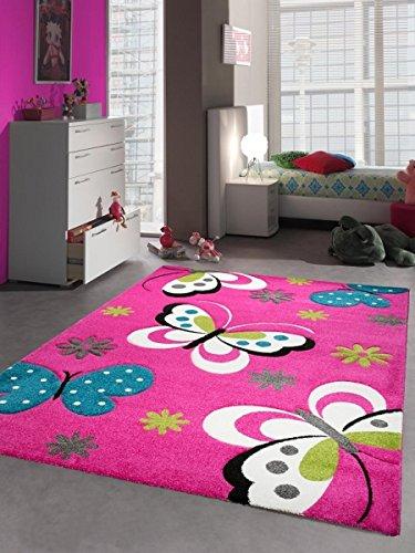 CARPETIA Kinderteppich Spielteppich Kinderzimmerteppich Mädchen Schmetterling pink Größe 80x150 cm