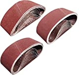 Tonmp 30 PCS 3 inch x 18 inch Sanding Belts - 10 Each of 40 80 120 Grit Aluminum Oxide Sanding Belts For Belt...