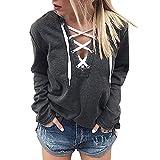 iHENGH Damen Frauen Hoodie Sweatshirt Lace Up Langarm Crop Top Coat Sport Pullover Tops(L,Schwarz)