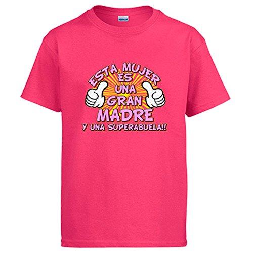 Diver Camisetas Camiseta Esta Mujer es una Gran Madre y una Super Abuela - Rosa, XXL