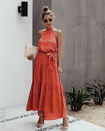 Spec4Y - Vestido de verano largo para mujer, vestido de playa sexy, sin mangas, informal, clásico, vestido de noche, floral, cuello redondo, vestido de fiesta, 259 rojo., 46