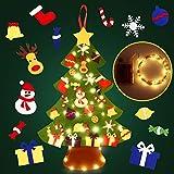 SOLEDI Feutre Arbre de Noël, 105CM Sapin de Noël Décoration Vitrine DIY Feutre avec 50LEDs lumières 29 Ornements détachables Cadeaux de Noël pour Les Enfants Noël Décoration