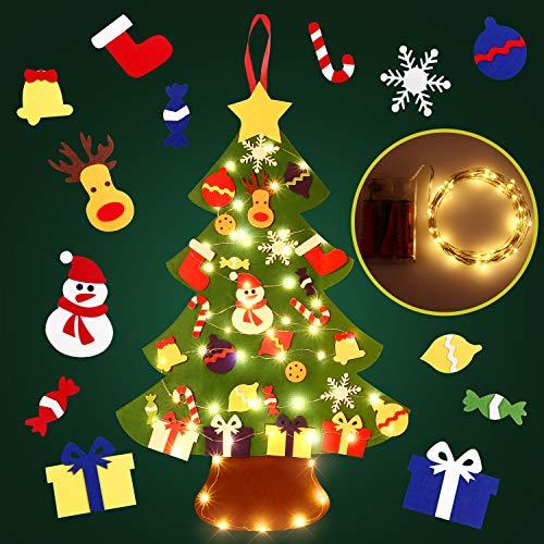 SOLEDI DIY Filz Weihnachtsbaum, DIY Weihnachtsbaum Dekoration Hängend Dekor für Kinder Weihnachten Geschenk mit 29PCS Verzierung 5m LED Lichterkette