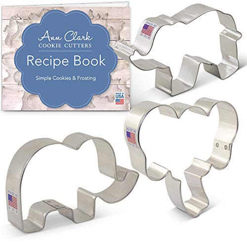 Ann Clark Cookie Cutters 3-Piece Elephants Cookie Cutter Set with Recipe Booklet, Elephant Face, Cute Elephant and Elephant