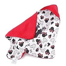 Manta para bebé Otoño/Invierno - 90 cm x 90 cm - Universal, por Ejemplo, para Maxi Cosi Buggy Asiento de Coche Certificado Öko-Tex Rojo