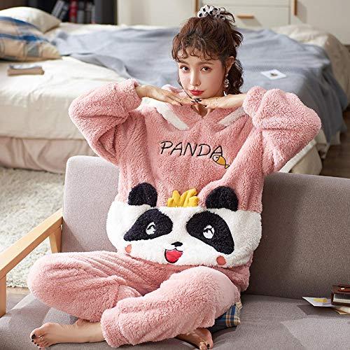 Nightgown Set, Women's winter plush thick hooded pajamas,-5476_L, Pajamas Set for Women Cotton