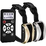 無駄吠え防止首輪 距離730メートルと充電式、モードオート&Manue、7つの振動レベル、感電、サウンド付きネックレス馬場馬術のためのアンチ吠えるの首輪同時に2匹の犬を制御する