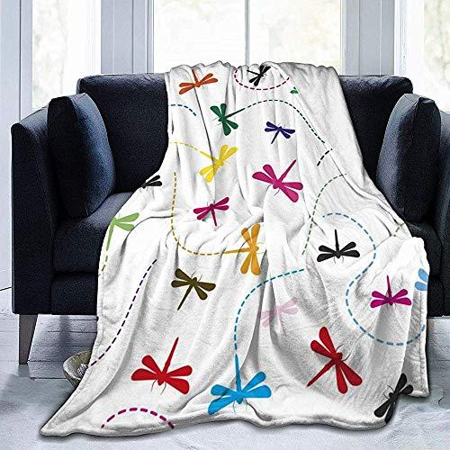 Wobuzhidaoshamingzi wollen deken van zacht flanel van Libellula Colorata Dragonfly