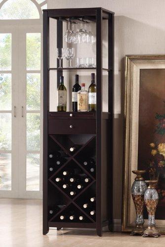 Baxton Studio Austin Wood Modern Wine Tower, Brown