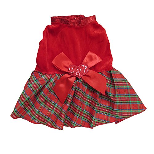 Tangpan Bow-Knot Christmas Pet Costume Plaid Skirt Dog Clothes Santa Dog Dress Size S