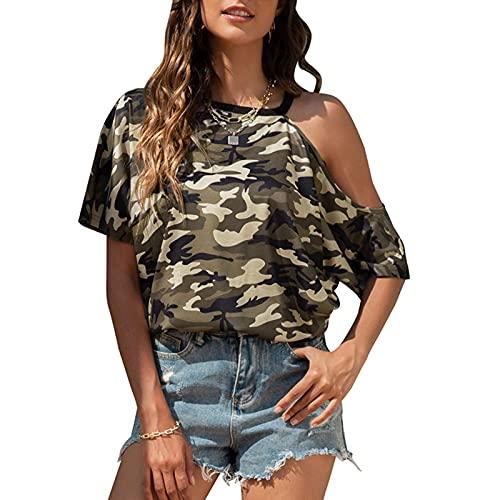 RONGYP Camiseta de verano para mujer, elegante, asimétrica, sin mangas, con estampado de camuflaje, para tiempo libre, cuello redondo, holgada Verde militar. XXL