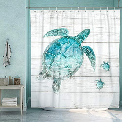 SUMGAR Cortina de ducha de playa Teal Sea Turtle, cortinas de baño costera, azul océano, Animals turquesa, gris rústico, poliéster resistente al agua, con 12 anillas blancas, 180 x 180 cm
