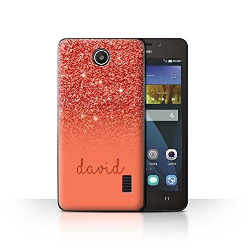 Personalisiert Hülle Für Huawei Y635 Individuell Glitter Effekt Rot Design Transparent Ultra Dünn Klar Hart Schutz Handyhülle Case