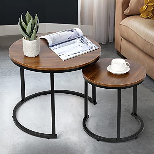 Tables Basse, Tables Basses Ronde,Tables Basse Salon avec Accents en Bois et Cadre en métal Robuste, Assemblage Facile