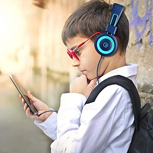 Kids Headphones - noot products K11 Foldable Stereo Tangle-Free 3.5mm Jack Wired Cord On-Ear Headset for Ch   ildren/Teens/Boys/Girls/Smartphones/School/Kindle/Airplane Travel/Plane/Tablet (Navy/Teal)