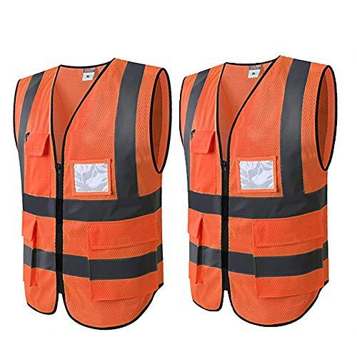 WUIO Chaleco de seguridad de alta visibilidad con bolsillos y bolsillos para identificación y blusa sin mangas con cremallera Z L/XL -Amarillo/naranja Orange (paquete de 2)