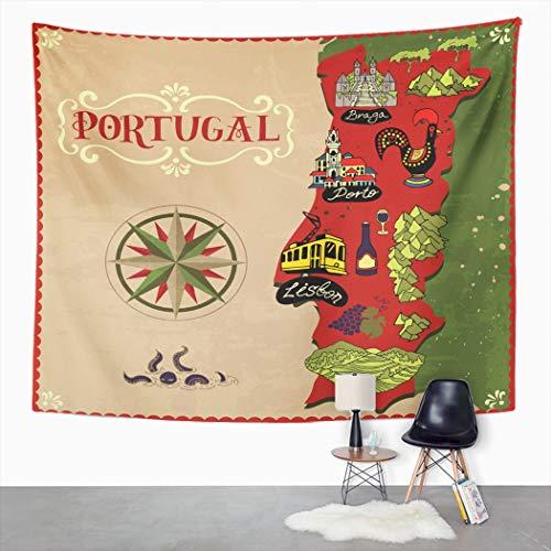 Y·JIANG Tapiz de mapa de Portugal, tapiz grande decorativo para dormitorio, diseño de mapa de Portugal, para sala de estar, dormitorio, 203 x 152 cm