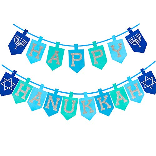 Happy Storm Happy Hanukkah Banner Glitter Chanukkah Party Banner Favors Hanukkah Party Decorations for Hanukkah Party Supplies