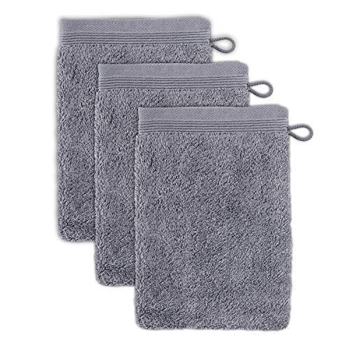 möve Superwuschel Waschhandschuh 15 x 20 cm aus 100% Baumwolle, stone 3er Set