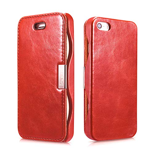 ICARER Tasche passend für Apple iPhone SE (2016), iPhone 5S & iPhone 5, Hülle Außenseite aus Echt-Leder, Schutz-Hülle seitlich klappbar, Ultra-Slim Cover, Vintage Erscheinungsbild, Rot