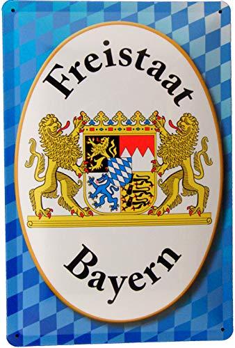 Tin Sign Blechschild 20x30 Freistaat Bayern auf Rauten Flagge mit Wappen Weiß Blau Franken Pfalz Schwaben