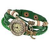 Taffstyle Damen-Armbanduhr Analog Quarz mit Leder-Armband Geflochten Charms Anhänger Uhr Retro Vintage Libelle Gold Grün