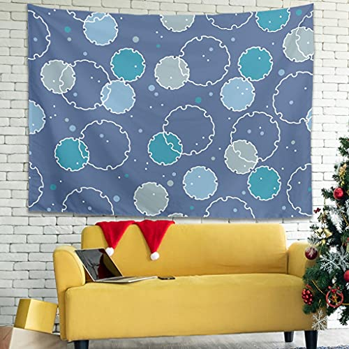 WellWellWell Tapiz de pared con diseño de círculos japoneses, 100 x 150 cm, color blanco
