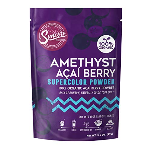 Suncore Foods – Organic Amethyst Acai Berry Supercolor Powder, 3.5oz – Natural Acai Berry Food Colouring Powder, Plant Based, Vegan, Gluten Free, Non-GMO