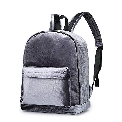 Ansenesna Rucksäcke Damen Samt Groß Vintage Elegant Taschen Teenager Freizeit Backpack Für Outdoor Reise (Grau)