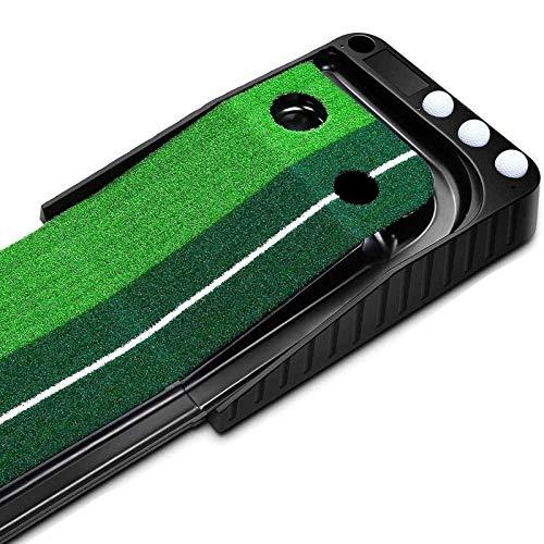 パターマット ゴルフ練習パット パター練習 3m 自動 返球 人工芝 ゴルフ練習器具 パッティングマット 2種類のタッチ 静音 コンパクト 収納可能