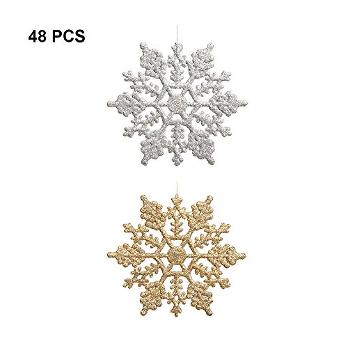 FerDIM Plastic Glitter Snowflake - Pack of 48 Multiple Color Snowflakes - 4 Hanging Sparkling Christmas Snowflakes - Snowflake Decorations Christmas Ornaments (Silver/Gold)