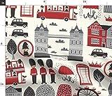 London, Britisch, Taxi, Bus Stoffe - Individuell Bedruckt