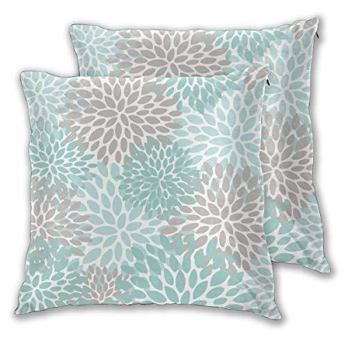 Juego de 2 fundas de cojín de 50 cm x 50 cm, diseño floral, color turquesa y turquesa