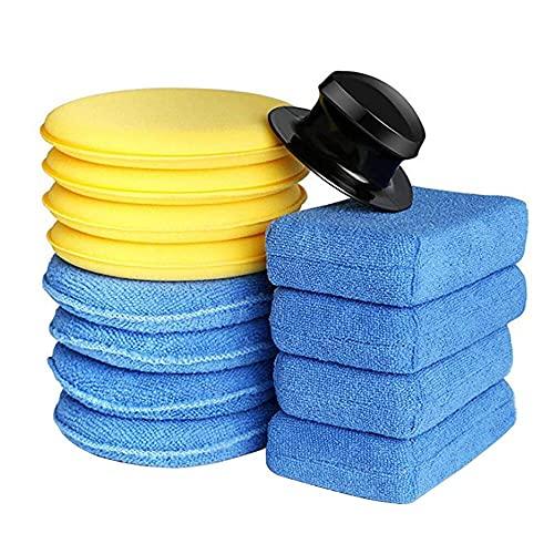 SaponinTree 13 Piezas Esponjas Cera para pulir Coche, Esponja de Aplicador Polaco de Microfibra Ultrasuave con Mango, Almohadillas Aplicadoras de Espuma de Cera para Coche, Vidrio, Limpiar vehículos