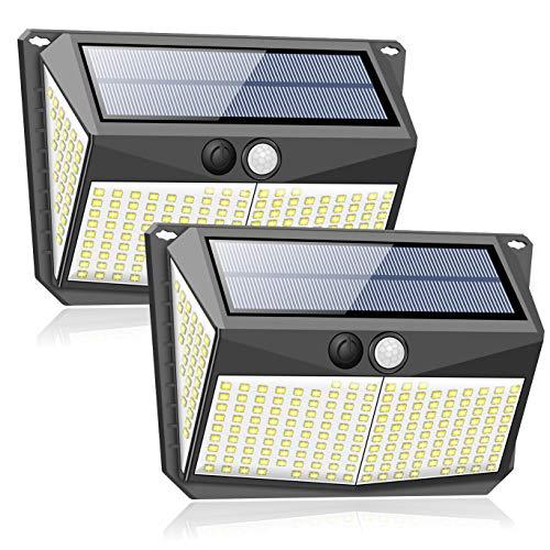 228 luces LED solares para exterior con detector de movimiento (2 unidades/2200 mAh), lámparas solares para exterior, jardín, 3 modos, lámpara de pared, iluminación exterior, lámpara de seguridad