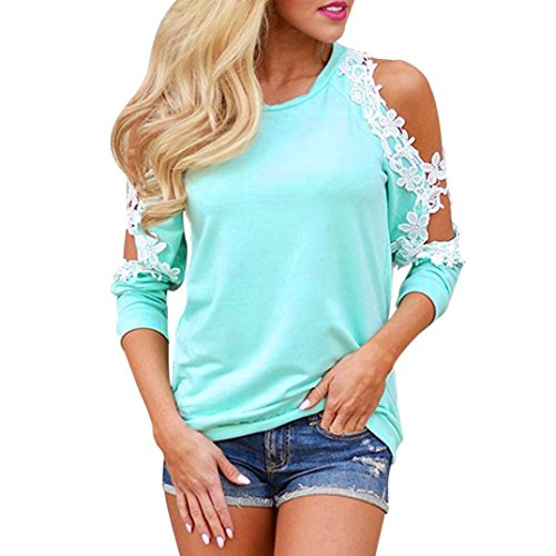 VEMOW Sommer Herbst Elegante Damen Frauen Schulterfrei Spitze Top Langarm Schulterfrei Bluse Casual Täglichen Party Strand Tops Shirt Pulli(Blau, 42 DE/L CN)