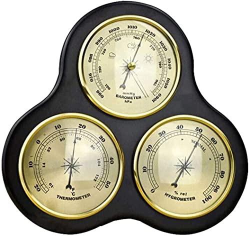 Taurusb Estación meteorológica Tradicional, barómetro con termómetro e higrómetro Sin batería Sin batería Se Requiere batería Colgante Hogar Tiempo Station Decoración de la Pared, Negro