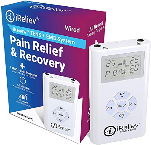 iReliev TENS + EMS Combination Unit Muscle Stimulator for Pain Relief & Arthritis & Muscle Strength - Treats Tired and Sore Muscles in Your Shoulders, Back, Ab