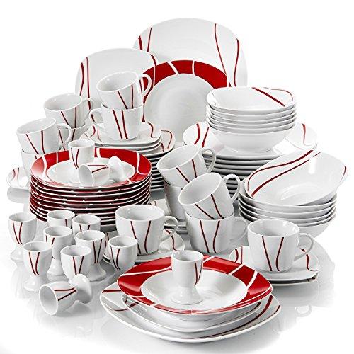 Malacasa Felisa, Servizio da Tavola in Porcellana Set 84 Pezzi Con 12 Tazza, 12 Piattini, 12 Piatti da Dessert, 12 Piatti Fondi, 12 Piatti, 12 Portauova e 12 Ciotola per Cereali