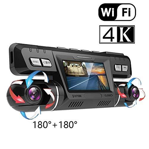 4K Ultra HD WiFi GPS Cámara Coche Grabadora Delantera y Trasera Dual 360° Rotativo 170° Gran Angular Cámaras Dash Cam con Sony WDR Visión Nocturna ADAS G-Sensor Detección de Movimiento para Coches