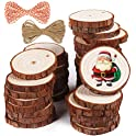 37-Pieces Natural Unfinished Wood Slices, Predrilled with Hole