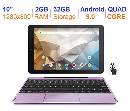 RCA Newest Best Performance Tablet Quad-Core 2GB RAM 32GB Storage IPS HD Touchscreen WiFi Bluetooth with Detachable Keyboard Android 9 Pie (10', Lavender)