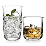 Drinking Glassware Set by Home Essentials and Beyond – Set of 8 Glasses – Includes 4 Highball Glasses 17 oz. | 4 Rocks Glasses 13 oz. – Heavy Flat Base – Ideal Water, Juice, Beer, Wine, Cocktails