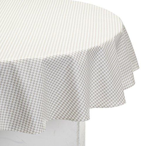 Nappe Ovale anti-tache imperméable 160x240cm Pied de Poule Taupe/blanc par Fleur de Soleil - coton enduit - sans solvant - sans phtalate - 100% fabrication française