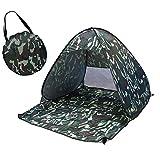 ポップアップテント ワンタッチ 1-2人用 キャンプ 簡易テント UVカット 防水 軽量 海 砂浜 プール 釣り レジャー 簡単セット コンパクト収納 キャリーバッグ付き(カモフラージュ,150×165×110CM)