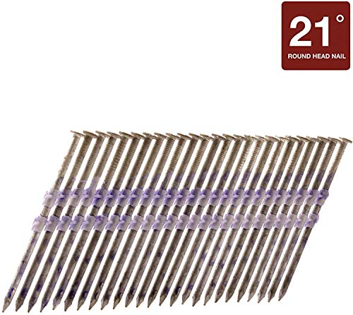 Metabo HPT Framing Nails, 3-1/4-in x .131, Full Round Head, Hot Dipped Galvanized, Plastic Strip Collation, For 21 Degree Framing Nailers, 1000 Count (20163SHPT)